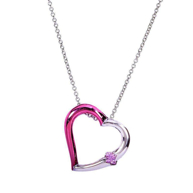 "Kobelli Pink Collection Sapphire Heart Pendant 1/5 Carat (ctw) in 14k Gold (16"" Chain)"