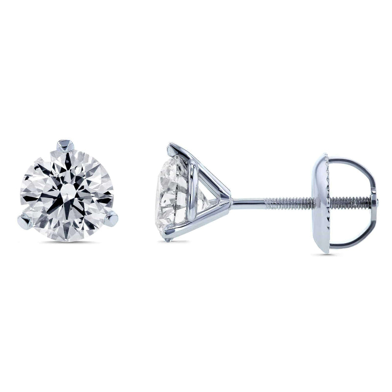 Kobelli Lab Created Diamond Screw Back Stud Earrings 1-1/5ctw in 18k White Gold (IGI Certified) F71408X
