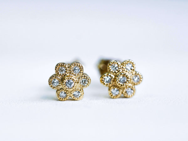 Kobelli Diamond Floral Stud Earrings 1/6 Carat (ctw) in 14k Gold
