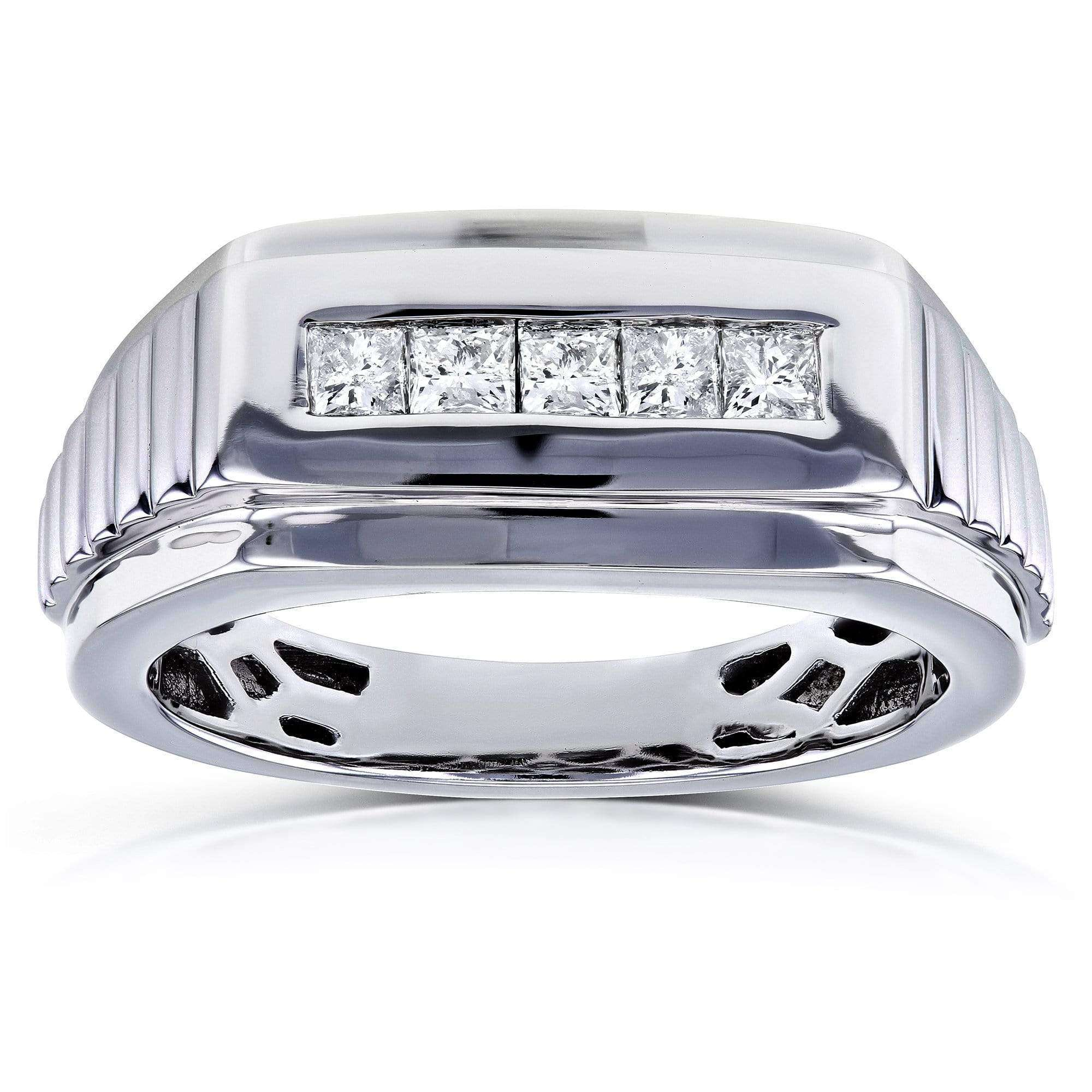 Cheap Mens Ring Channel Square Diamonds 1/2 Carat (ctw) in 10k White Gold - 9