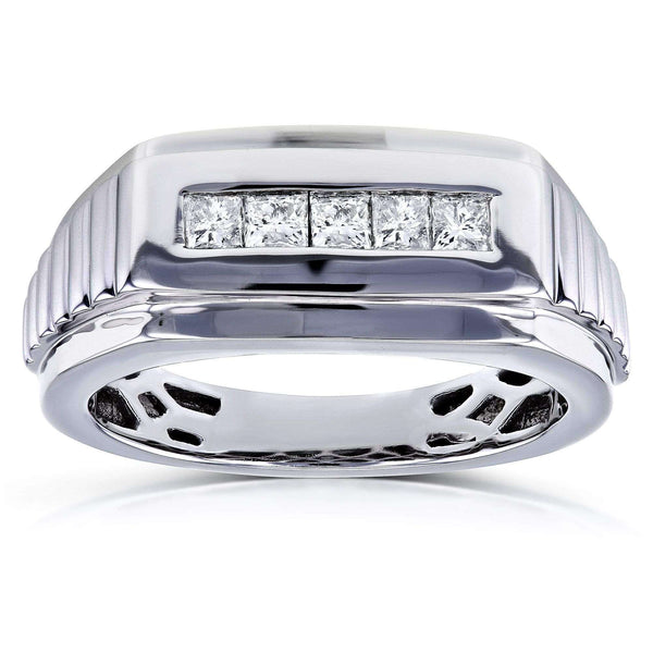 Kobelli Mens Ring Channel Square Diamonds 1/2 Carat (ctw) in 10k White Gold