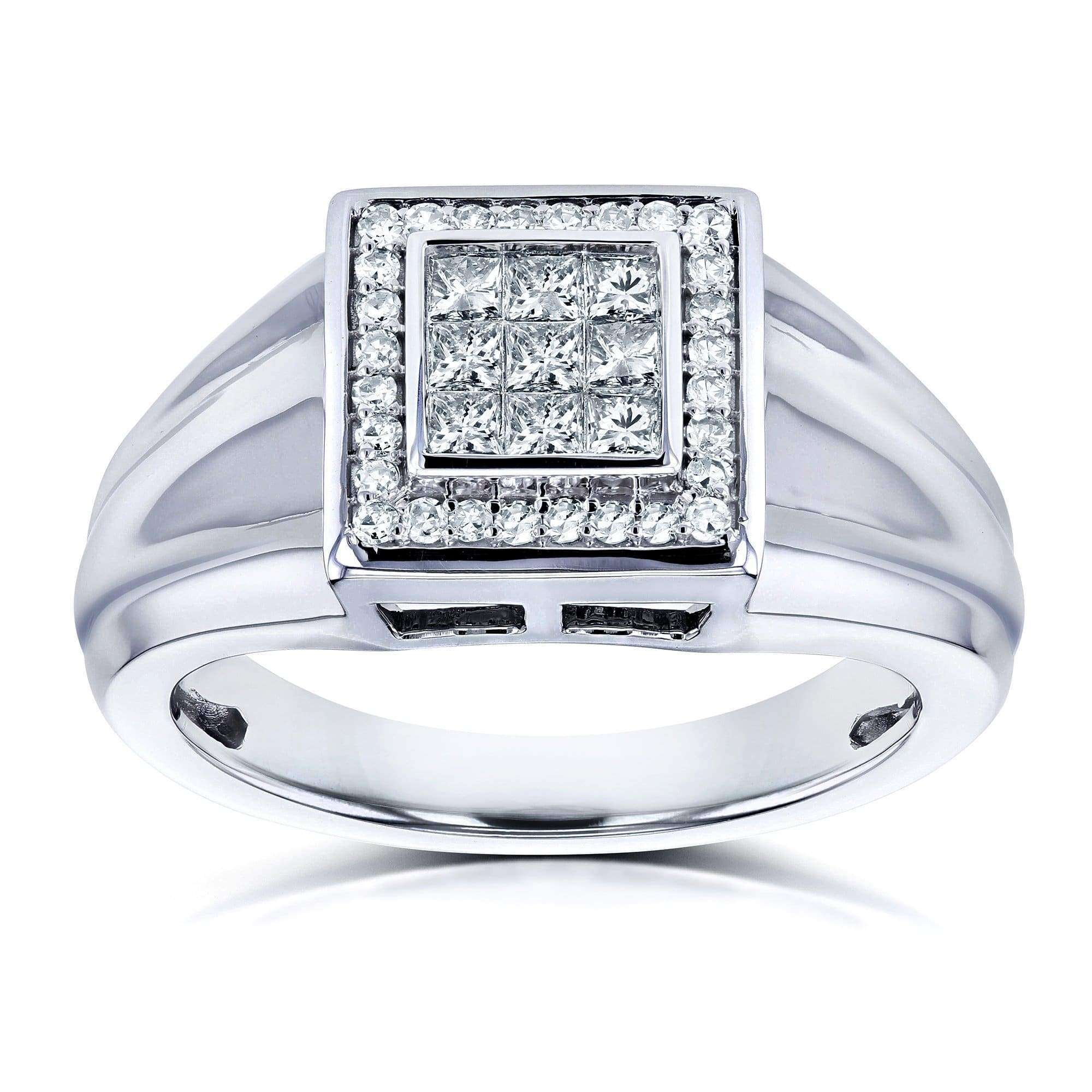 Coupons Mens Ring Invisible-set Square Diamonds and Pave-set Halo 1/2 CTW in 10k White Gold - 9.5