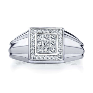 Kobelli Men's Ring Invisible-set Square Diamonds and Pave-set Halo 1/2 CTW in 10k White Gold