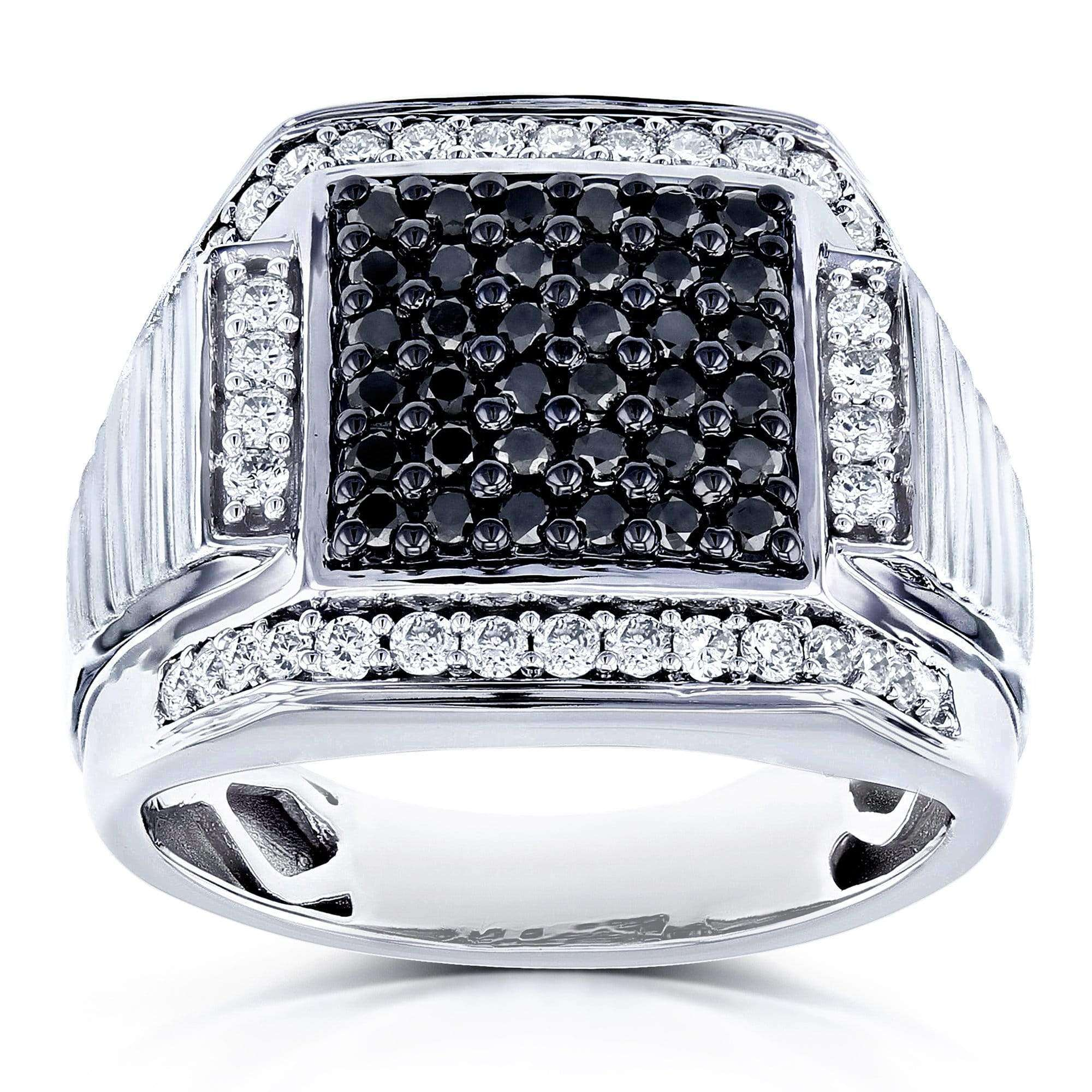 Cheap Mens Ring Square Black Diamond Pave 1 Carat (ctw) in 10k White Gold - 10
