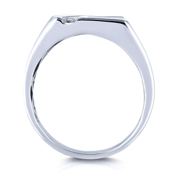 Kobelli Men's Ring Diagonal Tension-Set Diamond 1/4ct TDW in 10k White Gold