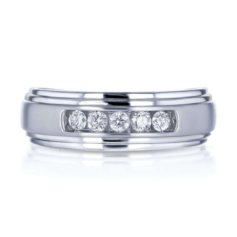 Kobelli 10k White Gold 1/4ct TDW Channel Diamond Men's Ring