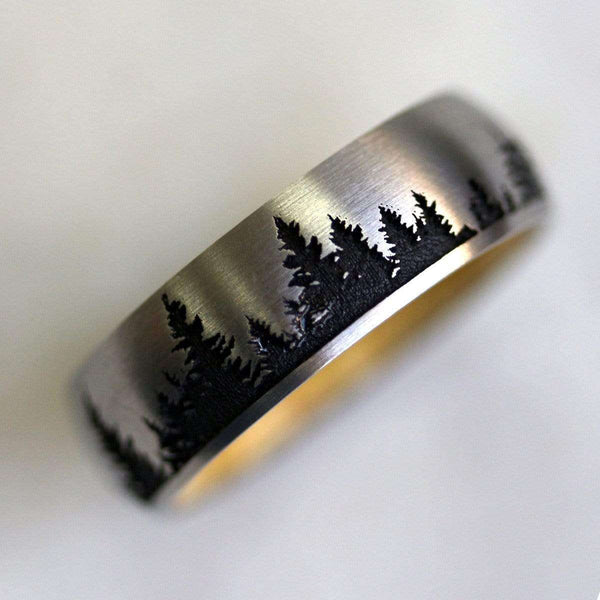 Kobelli Cobalt Chrome 7mm Domed Band with Laser Carved Tree Pattern and Boxelder Burl Hardwood Sleeve