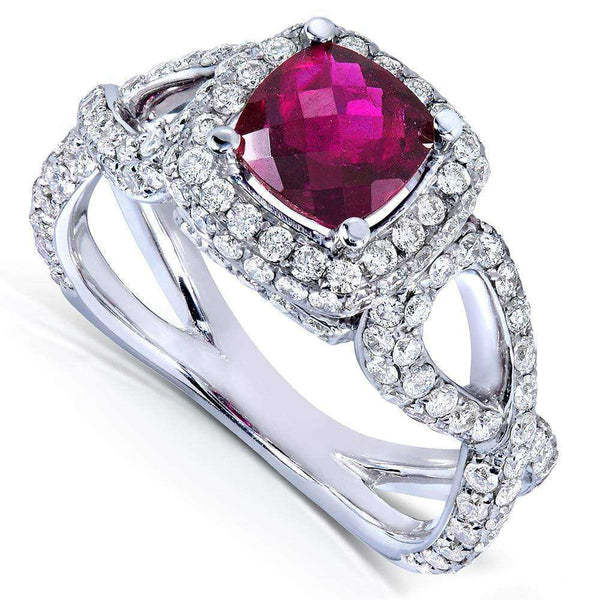Kobelli Pink Tourmaline and 1 2/5ct TDW Diamond Ring in 14k White Gold