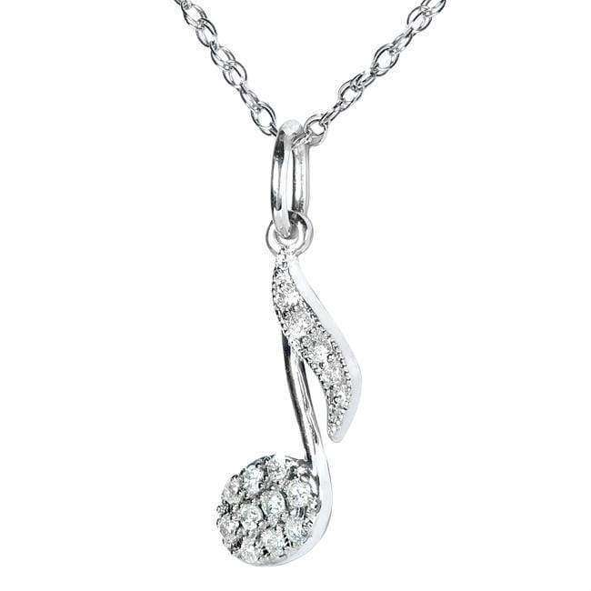 Kobelli Diamond Musical Symbol (Eighth Note) Pendant & Chain in 14K White Gold