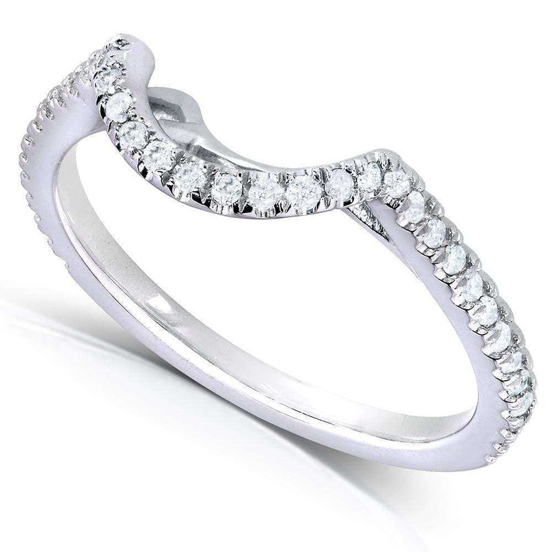 Kobelli 1/5ct.tw Curved Diamond Band 14k White Gold (61761 Series)