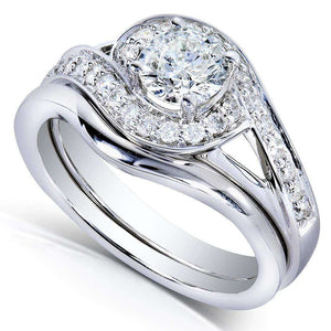 Round-cut Diamond Bridal Ring Set 3/4 Carat (ctw) in 14k White Gold