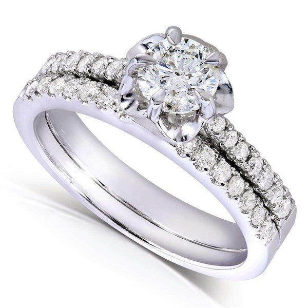 Kobelli Round-cut Diamond Bridal Ring Set 5/8 Carat (ctw) in 14k White Gold