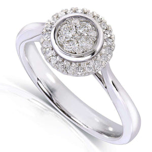 Round Cluster and Halo Diamond Engagement Ring 1/4 Carat (ctw) in 10k White Gold