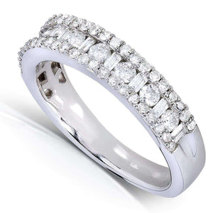 Round and Baguette Cut Diamond Wedding Band 3/4 Carat (ctw) in 14k White Gold