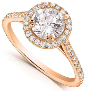 Kobelli Round-cut Diamond Halo Engagement Ring 1 1/3 Carat (ctw) in 14k Rose Gold