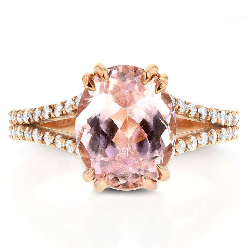 Kobelli Kunzite & Diamond Split Shank Ring 3 4/5 Carat (ctw) in 14k Rose Gold