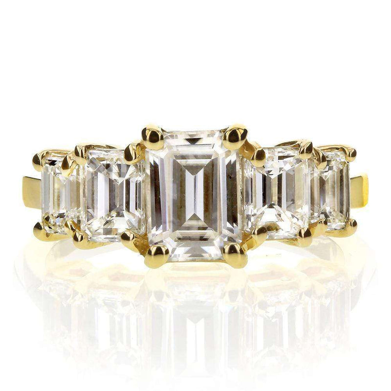 Kobelli Art Deco Emerald-Cut Moissanite and Diamond Five Stone Engagement Ring 21/3 CTW 14k Yellow Gold