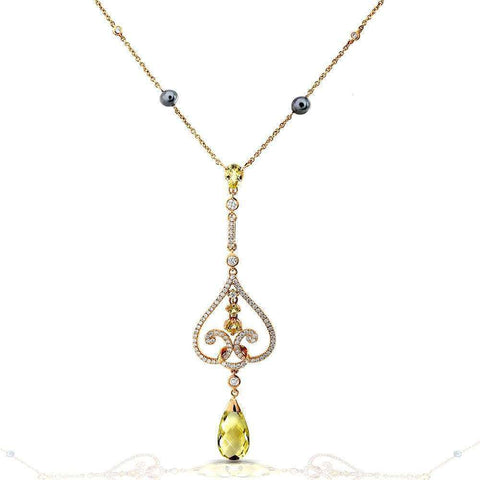 lemon quartz and diamond vintage necklace