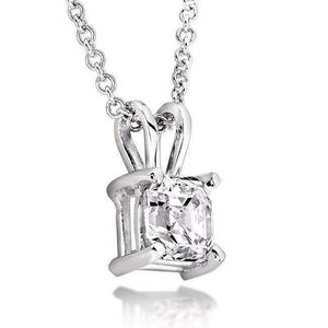 Diamond Solitaire Pendant 3/8 Carat Asscher in 14K White Gold
