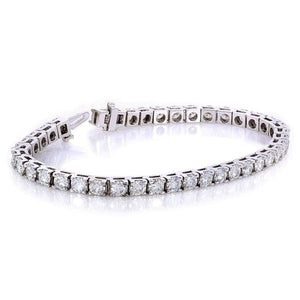 Round-Cut Moissanite Tennis Bracelet 10 CTW 10k White Gold