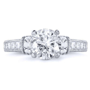 Round-cut Moissanite Engagement Ring with Diamond 1 7/8 CTW 14k White Gold