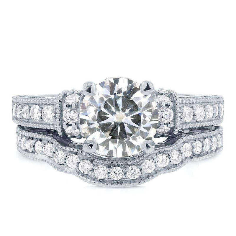 Kobelli Antique Moissanite Bridal Set with Diamond 2 1/10 ( CTW) 14k White Gold