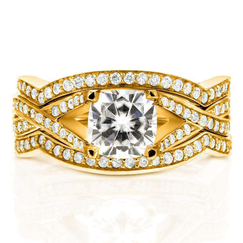 Kobelli Art Deco Moissanite and Diamond Twist Bridal Set 1 3/5 CTW 14k Yellow Gold (3-Piece Set)
