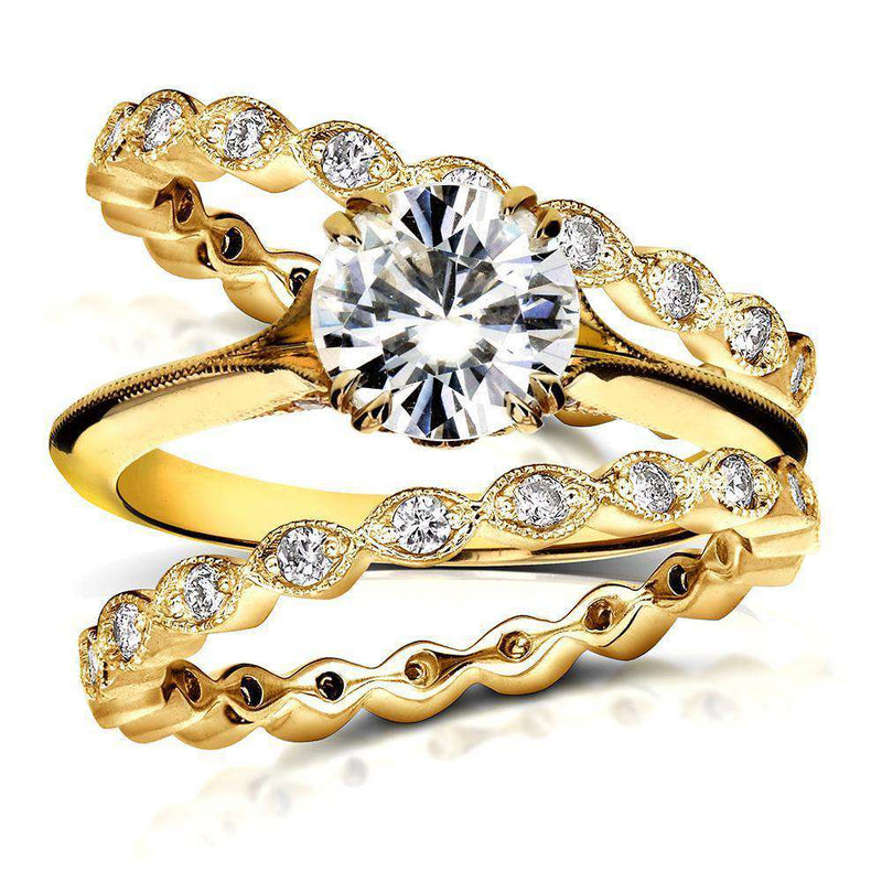 Vintage Forever One (D-F) Moissanite and Diamond Bridal Ring Set 1 3/4 CTW 14k Yellow Gold