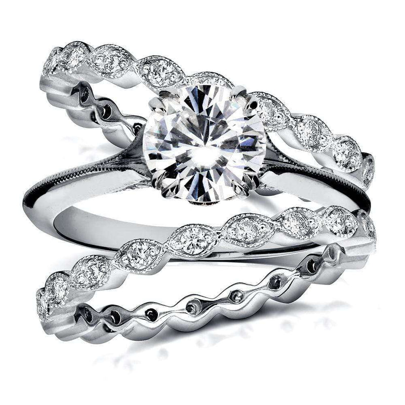 Kobelli Vintage Diamond Bridal Set 1 4/5 CTW in 14k White Gold (3 Piece Set)