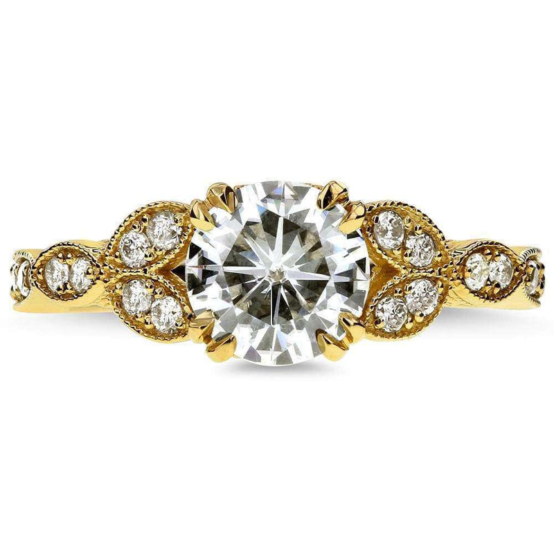 Kobelli Antique Round-cut Moissanite Engagement Ring with Diamond 1 1/5 CTW 14k Yellow Gold