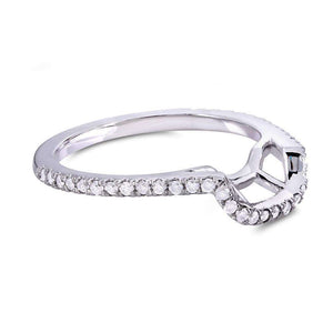 Curved Diamond Wedding Band 1/4 Carat (ctw) in 14k White Gold