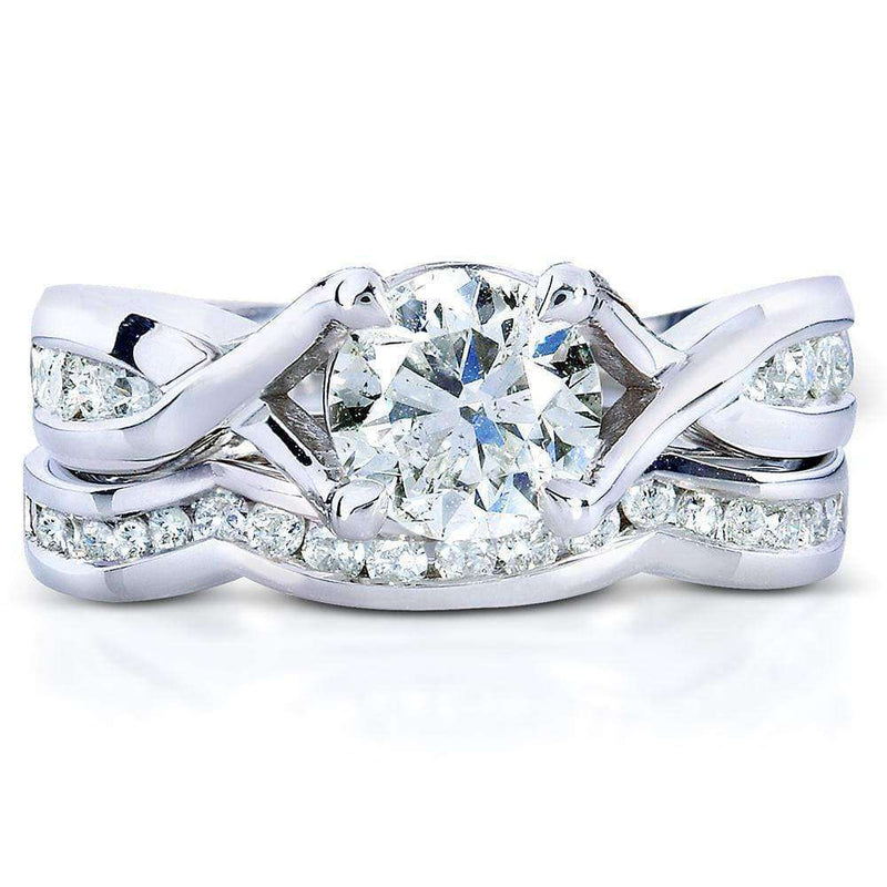 Kobelli Round-Cut Diamond Braided Bridal Set 1 1/2 Carat (ctw) in 14k White Gold (2 Piece Set)