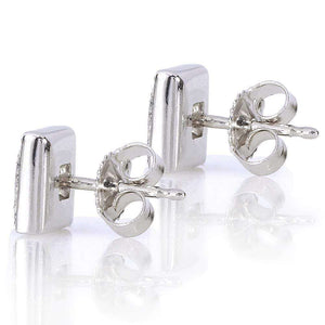 Princess and Round Diamond Stud Earrings 3/5 Carat (ctw) in 14K White Gold