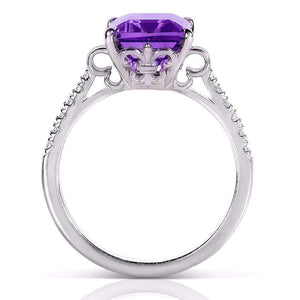 Emerald-cut Amethyst & Diamond Ring 2 2/5 Carat (ctw) in Silver with 14K Plated Gold