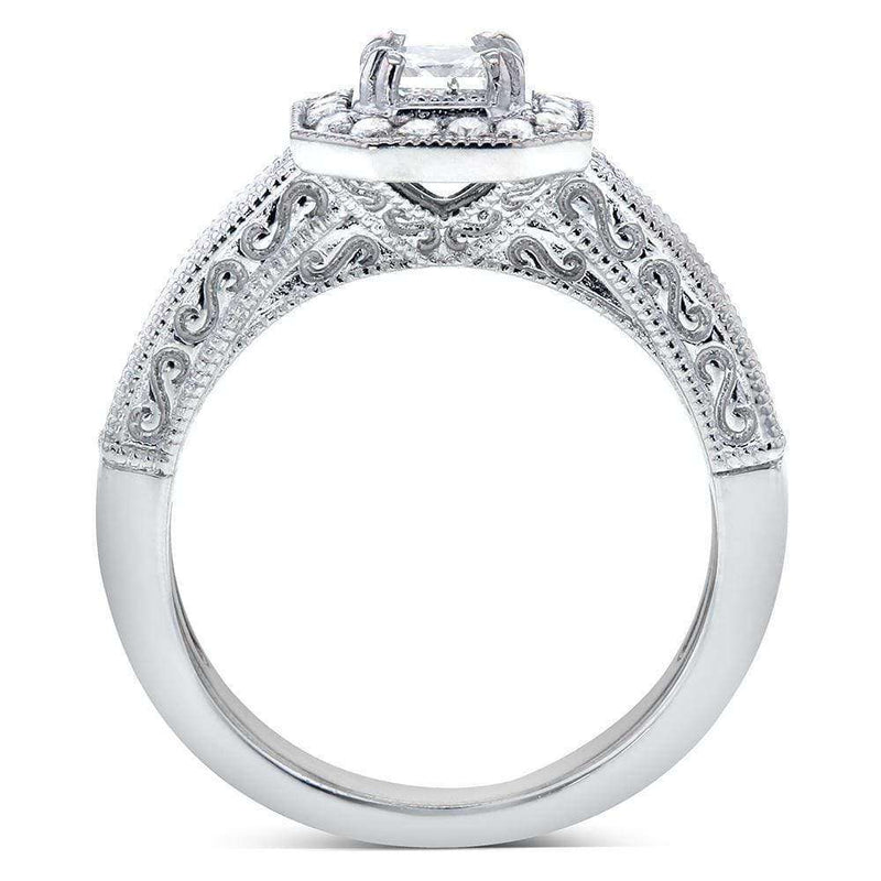 Kobelli Antique Princess-cut Halo Diamond Engagement Ring 3/5 Carat (ctw) in 14k White Gold