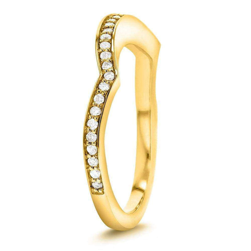 Kobelli Round-Cut Diamond Curved Wedding Band 1/5 carat (ctw) in 14k Yellow Gold