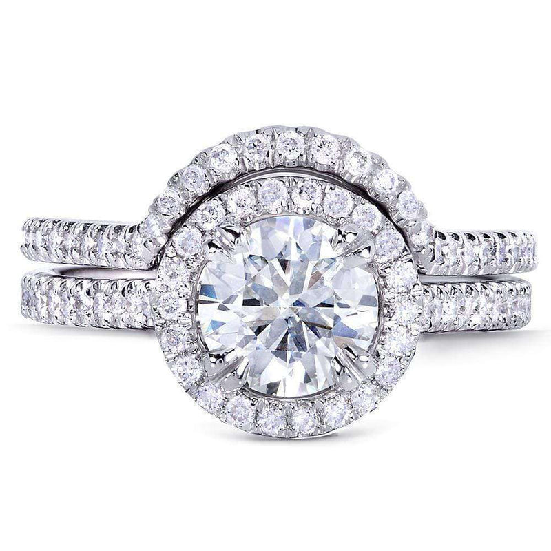 Kobelli Forever One (D-F) Moissanite Bridal Set with Diamond 1 1/2 CTW 14k White Gold