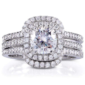 Forever One (D-F) Moissanite & Diamond Bridal Ring Set 1 7/8 CTW 14k White Gold