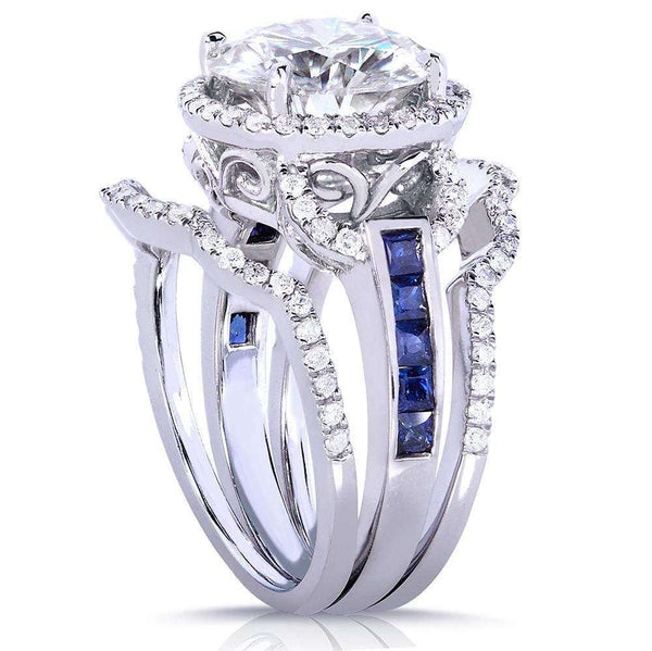 Kobelli Round-cut Moissanite Bridal Set with Sapphire & Diamond 4 1/10 CTW 14k White Gold (3 Piece Set)