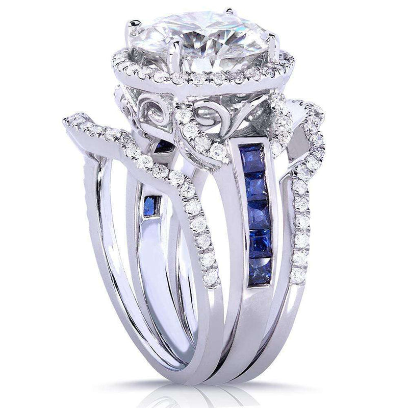 Kobelli Near-Colorless (F-G) Moissanite with Blue Sapphire and Diamond Bridal Rings 14k Gold (3 Piece Set)