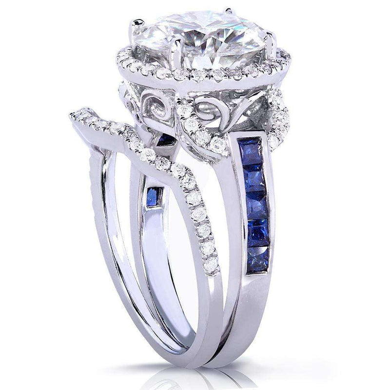 Kobelli Round-cut Moissanite Bridal Set with Sapphire & Diamond 4 CTW 14k White Gold
