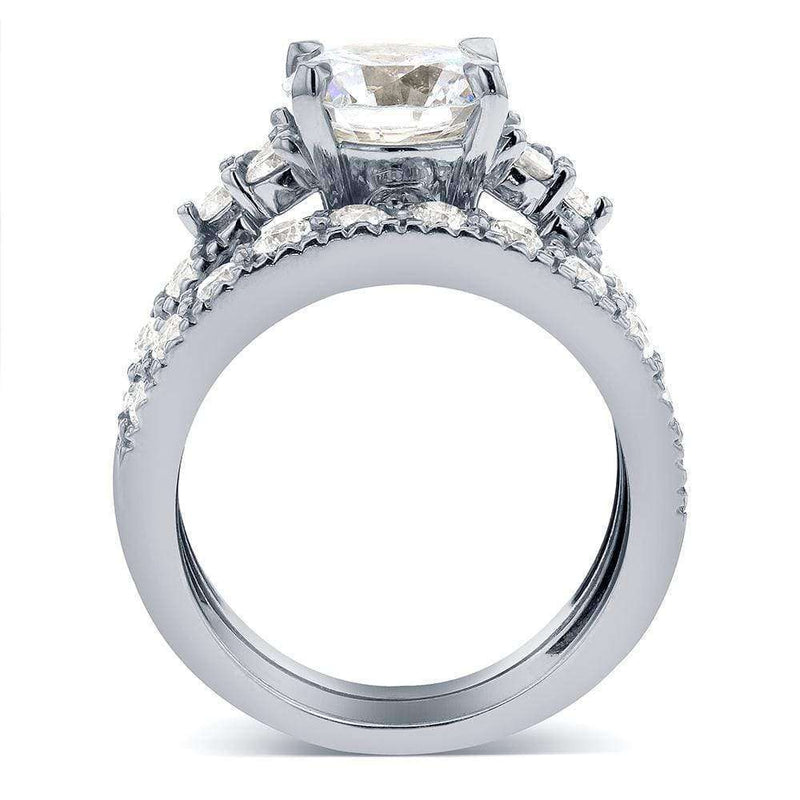 Kobelli Near-Colorless (F-G) Art Deco Moissanite and Diamond Bridal Set 3 CTW 14k White Gold