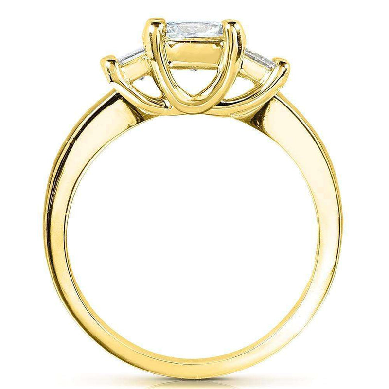 Kobelli Emerald-cut Moissanite Three-stone Engagement Ring 2 3/4 CTW 14k Yellow Gold