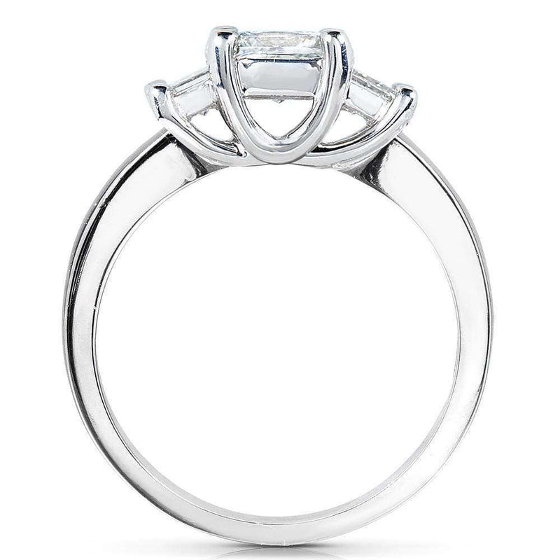 Kobelli Emerald-cut Moissanite Three-stone Engagement Ring 2 3/4 CTW 14k White Gold