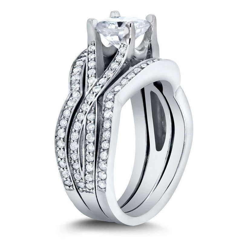 Kobelli Art Deco Moissanite and Diamond Twist Bridal Set 1 3/5 CTW 14k White Gold (3-Piece Set)