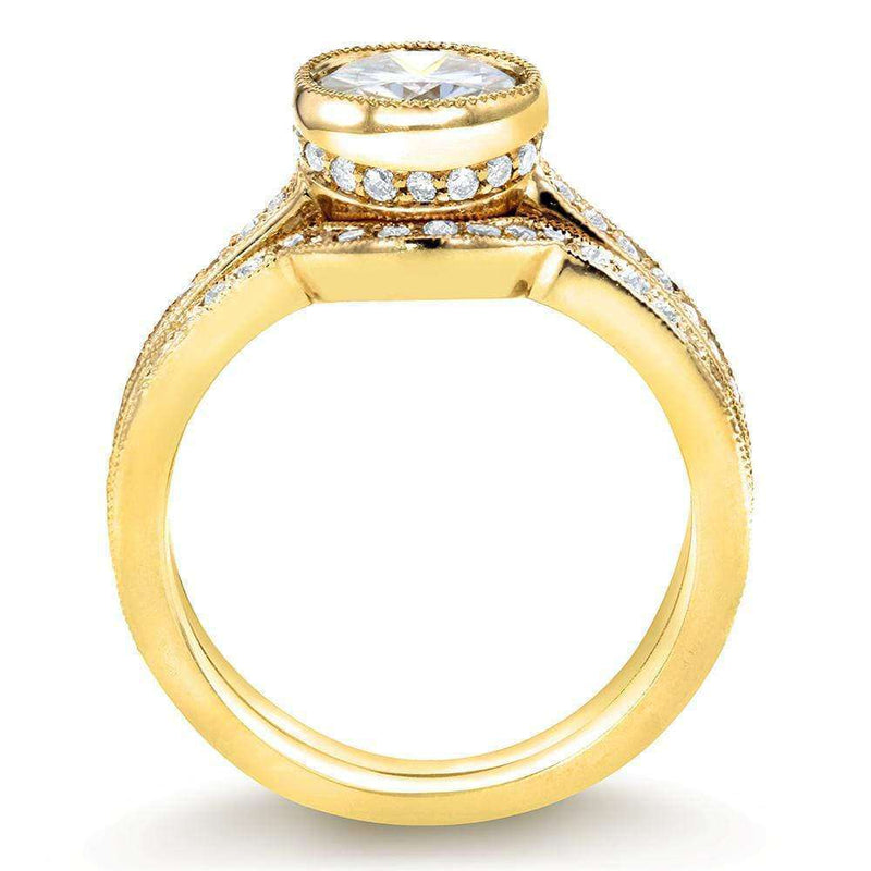 Kobelli Art Deco Moissanite and Diamond Bezel Bridal Ring Set 1 1/2 CTW 14k Yellow Gold