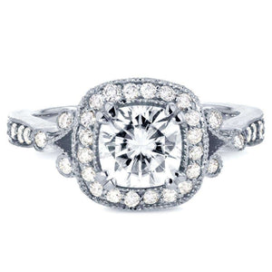 Antique Cushion-cut Moissanite Engagement Ring with Halo Diamond 1 3/8 CTW 14k White Gold