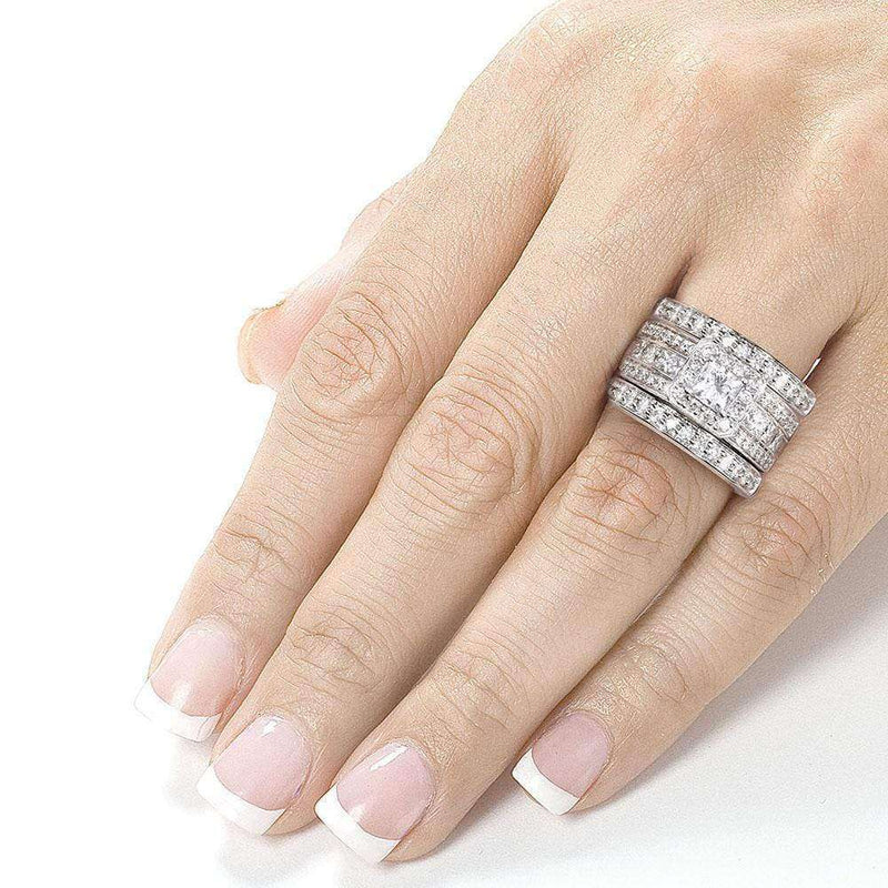 Kobelli Princess-cut Diamond 3-Piece Bridal Ring Set 1 4/5 Carat (ctw) in 14k White Gold
