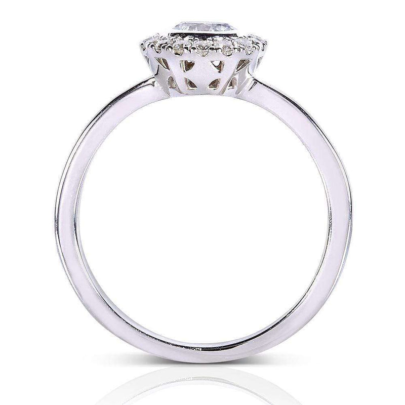 Kobelli Round Bezel Diamond and Halo Engagement Ring 1/2 Carat (ctw) in 14k White Gold