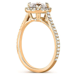 Round-cut Diamond Halo Engagement Ring 1 1/3 Carat (ctw) in 14k Rose Gold